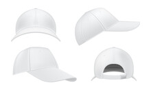 Baseball Cap Realistic Mockups Set. Front, Side, Three Quater, Back View. Sport Hat Empty Templates.