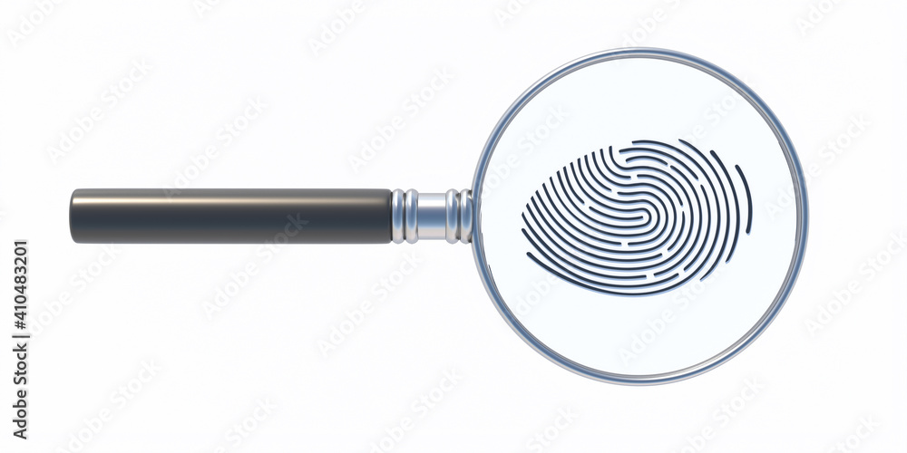 Fototapeta Fingerprint and magnifier isolated on white background. Human thumbprint, detective search concept. 3D illustration