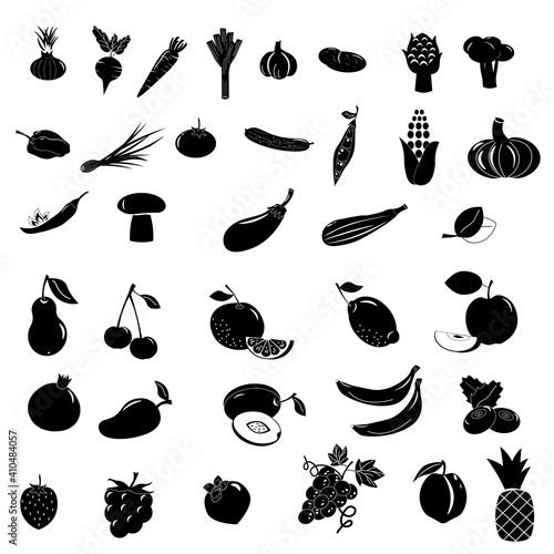 Leinwand Poster Set of icons with different fruits