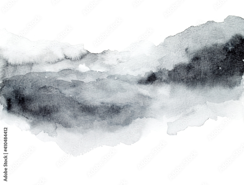 Fototapeta Grey abstract watercolor background. Painting on paper
