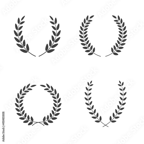 Foto Set of laurel wreaths vectors of different shapes isolated on white