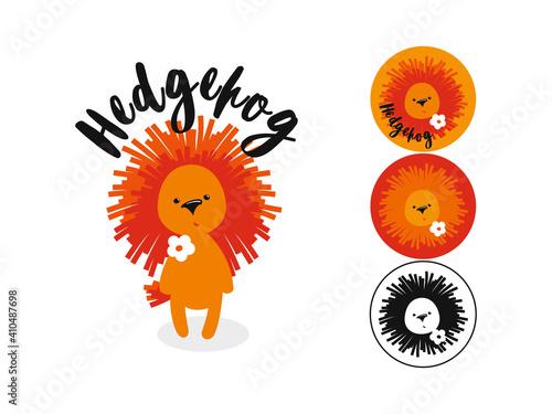 Isolated cartoon hedgehog illustration. Character and logo #410487698