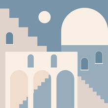 Old City Minimalist Boho Illustration. Boho Summer Old City With Stairs Pattern For Design Tourism Agency Flyer, Summer Birthday Greeting Card, Resort Party Advertising Etc.