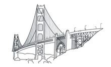 LINEAR ILLUSTRATION OF THE GOLDEN GATE BRIDGE IN SAN FRANCISCO