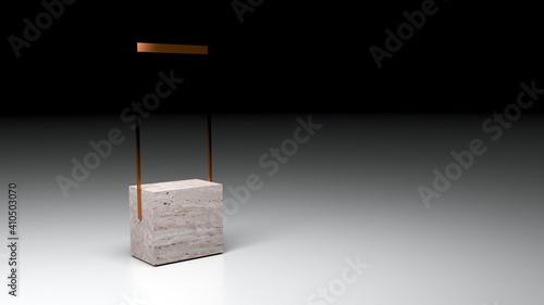 Marble and metal etail display props, original 3d rendering © tostphoto