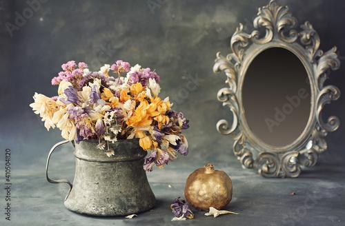 vintage vase and beautiful flowers