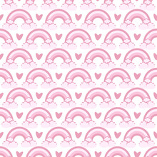 Vector Seamless Pattern With The Image Of A Rainbow And Hearts In Pink