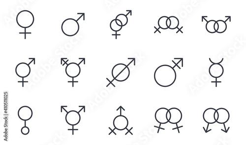 Fotografie, Obraz Vector gender identity icons