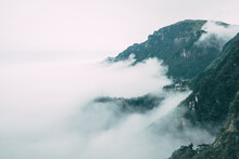 Mountain Covered By Clouds On Top Of Wugong Mountain In Jiangxi, China
