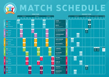 Football 2020 Tournament Final Stage Match Schedule, Template For Web, Print, Football Results Table, Flags Of European Countries Football Championship 2021, Vector Illustration.