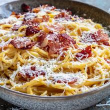 Spaghetti Carbonara With Crispy Bacon And Parmesan