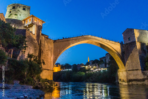 Evening view of Stari most (Old Bridge) in Mostar. Bosnia and Herzegovina