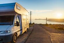 Caravan On Coast At Sunset, Spain