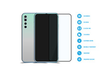 Screen Protector Glass With Mock-up Of Realistic Smartphones. Front Side With Screen And Back Side With Camera Isolated On White Background With Shadow And Web Icons. Flat Vector Illustration EPS 10.