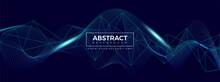 Modern Wave Particle Background Blue Color. Poster, Wallpaper, Landing Page. Vector Illustration