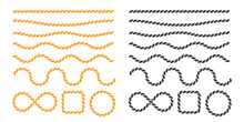 Swaying Black Nautical Rope Border Vector For Round Text Frames.