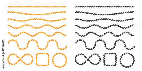 Obraz Swaying black nautical rope border vector For round text frames. - fototapety do salonu