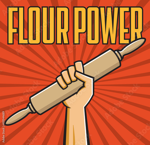 Valokuva Flour power vector badge or emblem of fist holding rolling pin in the style of Russian constructivist propaganda posters