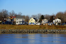 The Waterfront Houses By The Canal Near Chesapeake City, Maryland, U.S.A
