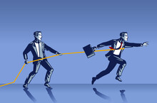 Businessman Stop Colleague From Moving Forward With Rope Blue Collar Illustration Concept