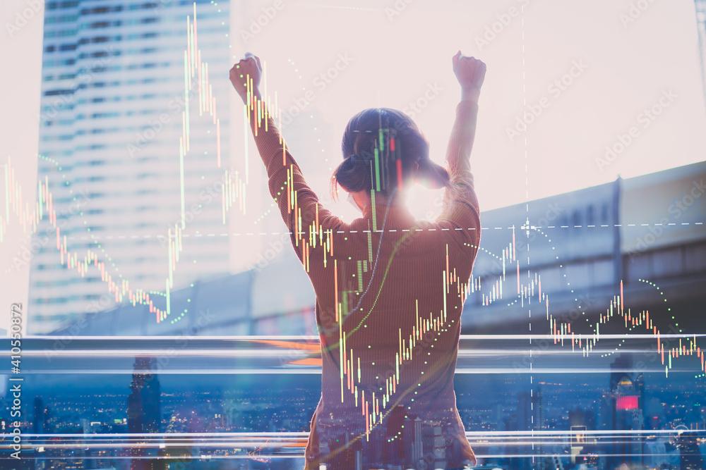 Fototapeta Freedom of female investors and the stock market
