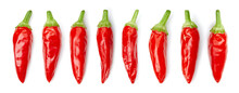 Chilli Collection. Hot Chili Peppers Isolated On White Background. Red Hot Chili Peppers Vegetable With Clipping Path