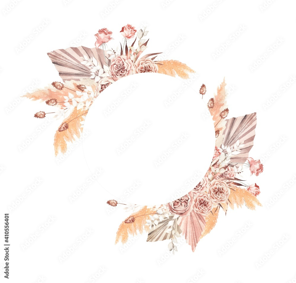 Fototapeta watercolor illustration.  Round frame in boho style, peony roses, pampas grass, palm leaves, dried flowers.  Design for invitations, weddings, baptism, party,