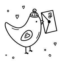 Cartoon Bird With An Envelope In Its Beak. Cute Dove In A Hat Carries The Love Letter. Element For Valentine's Day With Hearts. Hand Drawn Doodle Vector Icon. Black  Isolated On A White Background.