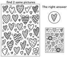 Black And White Cartoon Funny Hearts With Geometric Pattern. Find Two Same Pictures. Educational Activity Game For Kids. Find The 2 Identical Doodle Hearts. Answer Included. Vector Coloring Book.