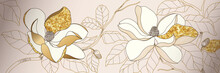 Luxury Golden Magnolia Flower Background Wall Art Vector Design Home Decorate
