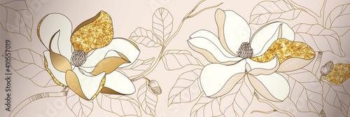Fotografie, Obraz Luxury golden magnolia flower background wall art vector design home decorate
