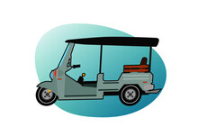 Side View Of Tuk Tuk Unmanned Transport Vehicle. Taxi In Thailand. For Travel And Interior Tourism. Vector Illustration Flat Design