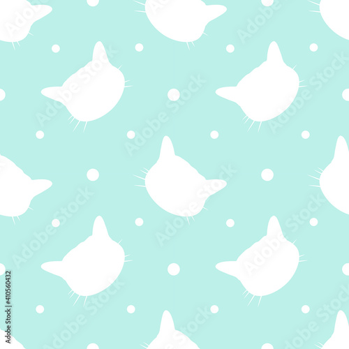 cute vector seamless pattern with cats heads. pattern for printing on fabric, children's clothing, wallpaper, packaging paper