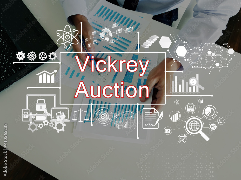 Fototapeta Business concept meaning Vickrey Auction with phrase on the page.