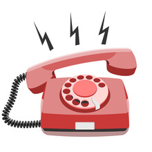 Phone Call, Old Rotary Telephone, Vintage Wired Phone Handset, Retro Phone. Vector Illustration On White Background With Copy Space