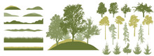 Forest, Constructor Kit. Silhouettes Of Beautiful Birch, Fir Trees, Poplar ,grass, Hill. Collection Of Element For Create Beautiful Spring Forest Or Park, Woodland, Landscape. Vector Illustration.