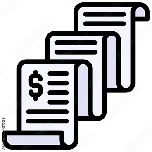 Receipt icon, Bankruptcy related vector Fotobehang