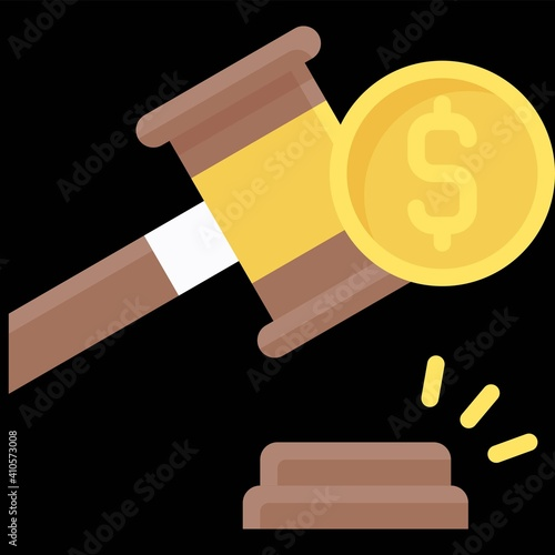 Gavel and coin icon, Bankruptcy related vector Wallpaper Mural