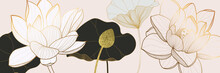 Luxury Golden Lotus Background Wall Art Vector Design Home Decorate