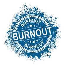 Blue Stamp With Word Burnout Inside, Vector Illustration
