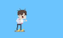 Pixel Art Cartoon Funny Tired Salary Man Character.