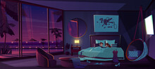 Sleep In Luxury Resort Hotel Room Cartoon Vector