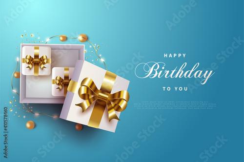 Happy birthday background with gold ribbon gift box.