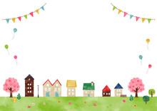 水彩、水彩画、春の景色 街並み