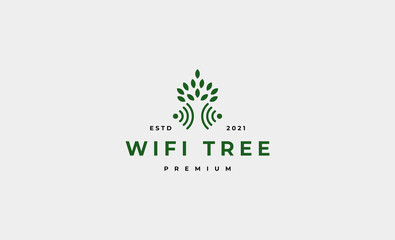 tree wifi logo design vector