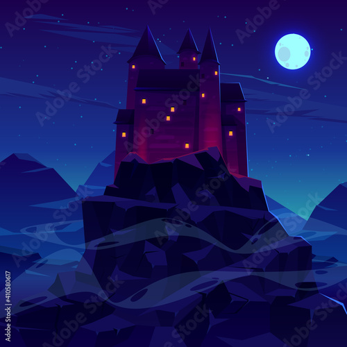 Obraz na plátně Ancient castle or fortress in mountains vector