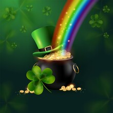 St. Patrick's Day. The Symbols Of The Holiday Are A Pot Of Money And A Green Leprechaun Hat. Rainbow Light Falls Into A Pot Of Coins On A Background Of Shamrock Clover