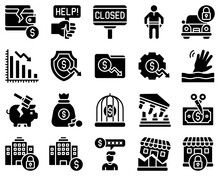 Bankruptcy Related Vector Icon Set 3, Solid Style