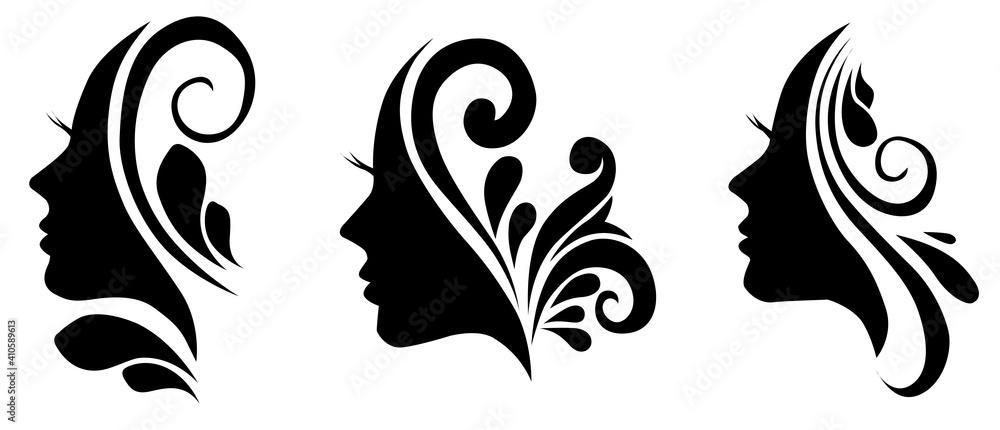Fototapeta female head silhouette beauty icon symbol