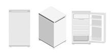 Flat, Isometric, 3D, Open Or Closed Door White Compact Mini Fridge Icon On A White Background.